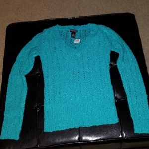 Aquamarine Long Sleeved V Neck Sweater NWT